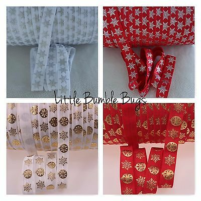 Foe 5/8 Fold Over Elastic By The Metre - Foil Christmas Prints