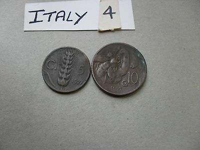 Italy 1927 Five And Ten Centesimi Coins