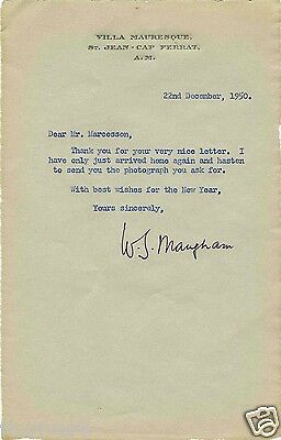 W SOMERSET MAUGHAM Autographed Letter - Author / Writer / Literature - reprint