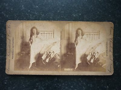 """Stereoview Early Image Of A Bedroom With Young Girl In Nightdress  """" Caught It """""""