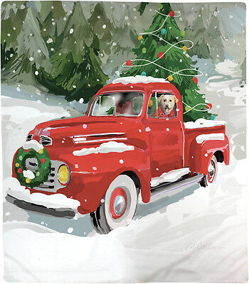 Holiday Drive Dog in Truck Christmas Fleece Afghan Throw