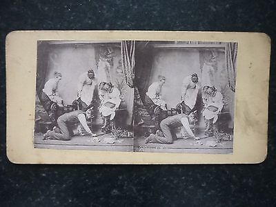 """Stereoview Image Family Stood Upon The Furniture While Man Looks For """" A Mouse """""""