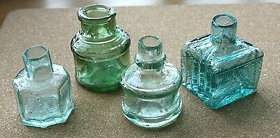 4 X  Nice Vintage  Small Glass Ink Pots