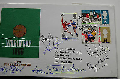 1966 World Cup Fdc Signed By 6 Bobby Charlton, Alan Ball Etc