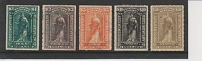 USA 1898 Documentary Stamps $1 - $50 R173 - R178 (no $30 stamp)