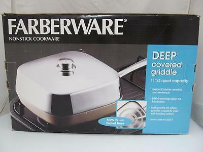 """Nos Farberware Deep Covered Giddle 11"""" 3 Qt Nonstick Prism Etched Base Box"""