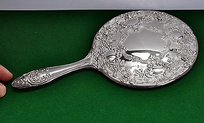 Wonderful Ornate Vintage Silver Plate Hand Mirror - 23.5cm Length. Beautiful.