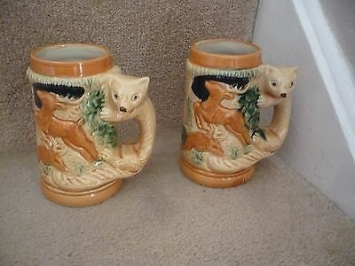 A Pair Of Vintage Fox Handle Tankards With A Wild Forest Scene Stamped Japan