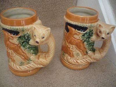 A Vintage Pair Of Japanese Fox Handle Tankards With A Wild Forest Scene Superb