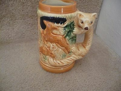 A Vintage Japanese Fox Handle Tankard With A Wild Forest Scene A Superb Piece