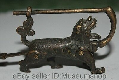 Old china Bronze Carved 12 Zodiac Year Dog statue Lock & Key
