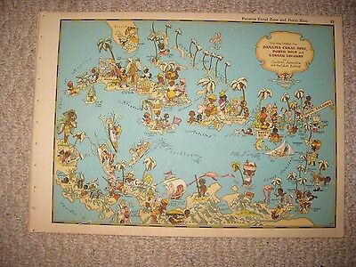 Antique 1935 Puerto Rico Panama Canal West Indies Our Usa A Gay Geography Map Nr