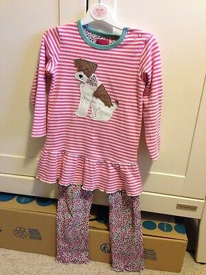Joules Babypoppy Long Sleeve Tunic Top Dress & Leggings Outfit 2-3yrs Dog Lovers