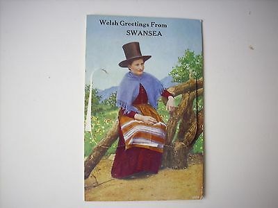 SWANSEA VINTAGE WELSH GREETINGS POSTCARD with PHOTO FOLD-OUT