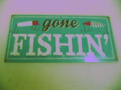 GONE Fishing Tin Metal Sign Retro Vintage 3D with Lures