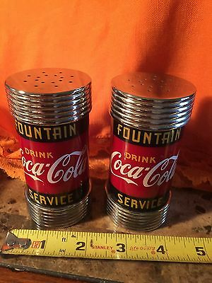 Coca-Cola Salt and Pepper Shakers Fountain Service 1997