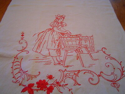 Antique  Towel Turkey Red  Figural Embroidery Textile Laundry Lady