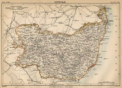 Suffolk County England: Detailed 1889 Map showing Towns, Cities & Railroads