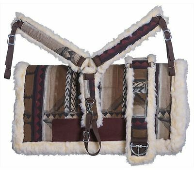 Tough-1 Saddle Pad Navajo Breast Collar Girth Set Fleece Lined 90-100P