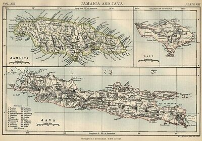 Jamaica; Java & Bali: Authentic 1889 Maps showing Cities; Topography