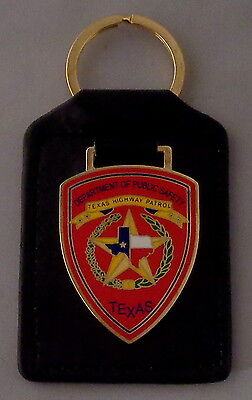 Texas Highway Patrol patch Key Ring Leather Fob TX state police TXHP DPS