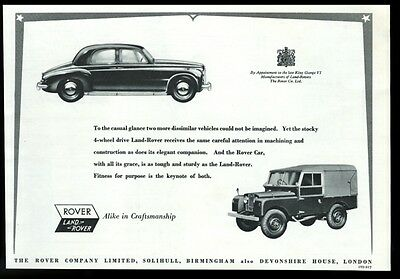 1954 Land-Rover and Rover car art vintage UK print ad