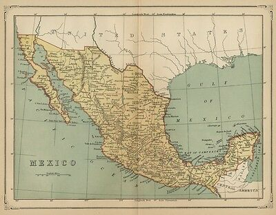 Mexico Map: Authentic 1883; States, Ports, Cities, Topography