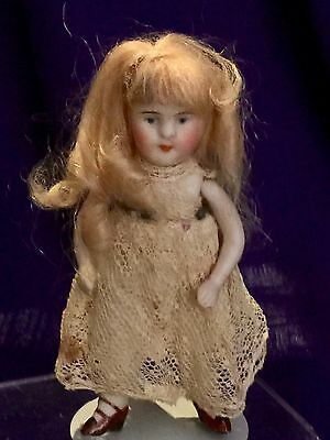 """4"""" Antique Tiny All Bisque Girl Long Blonde Wig Painted Eyes All Original"""