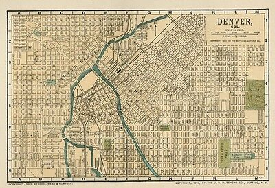 Denver CO SMALL Street Map / Plan: Authentic 1903 (Dated) Landmarks, Stations, +