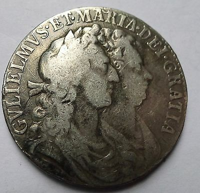 Halfcrown William and Mary 1689 gF