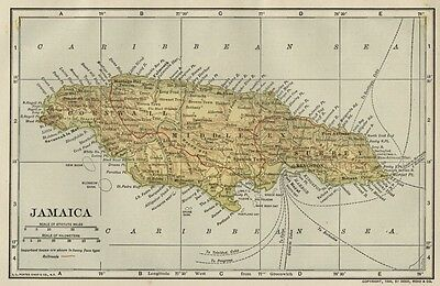 Jamaica Map: SMALL Authentic 1908 (Dated) Cities, Towns, Topography, Railroads