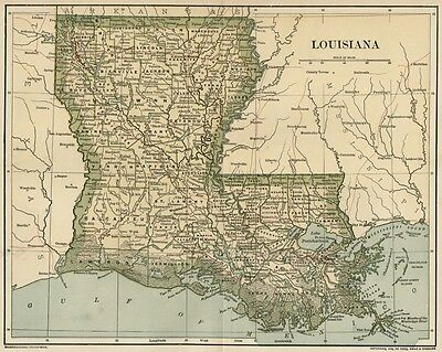LOUISIANA Map: Dated 1891 with Towns, Counties, Railroads; with 1890 Populations