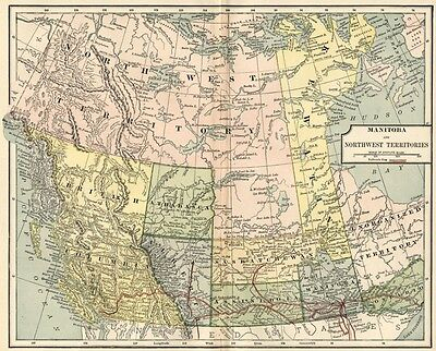 Manitoba Canada Map:  1891 with Northwest Territories, Assiniboia, Athabasca