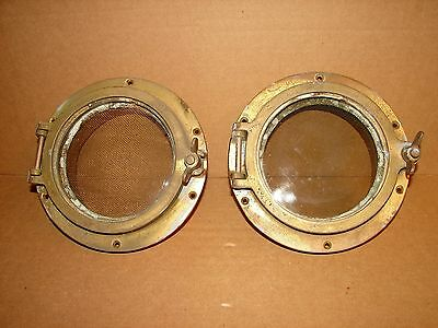 """Two Antique 9"""" Brass Ship Portholes With Screens"""