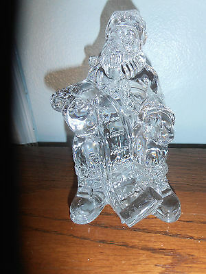 Waterford Crystal Large Sitting Santa With Xmas List Rare Mint