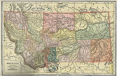 MONTANA Map: Authentic 1899; Counties, Cities, Towns, Railroads, Topography