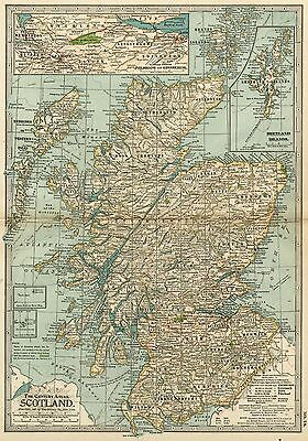 SCOTLAND Map: Authentic 1897 (Dated) Counties, Towns, Topography & Railroads