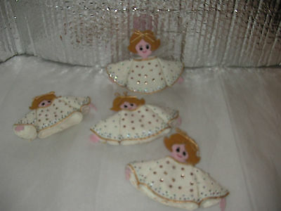 4 Pc Lot Vintage Handmade Beaded Sequins Angels Angel Christmas Ornaments
