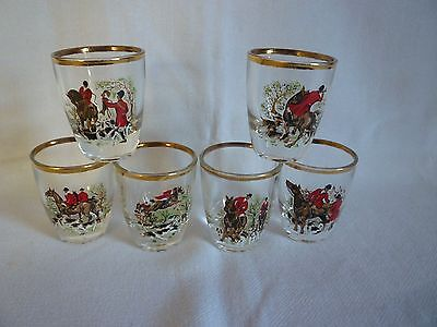 SET of 6  VINTAGE SHOT GLASSES with ATTRACTIVE FOX HUNTING SCENES. EXCELLENT