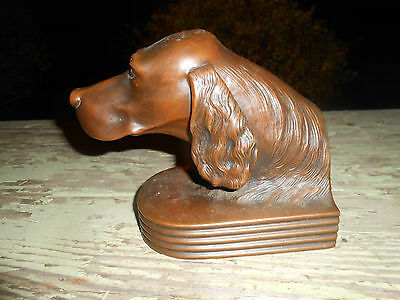 Vintage Bronze POINTER SETTER Hunting Dog #856 Book End - NEAT - HEAVY