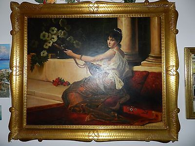 Antique Oil Painting, Carved Wood Frame, Woman Playing Mandolin