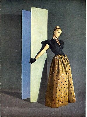 EVENING GOWNS 1945 Ad - Traina Norell in Color - Taffeta Sequins on Gold 2 pages