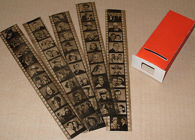 1930s Vintage Film Star Box Viewer with Film Strips - 50 Film and Comedy Stars
