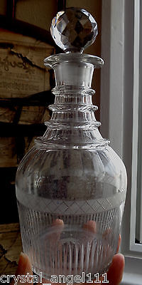 19thc   1810c  GEORGIAN  PRUSSIAN 3  RING NECK   WINE DECANTER  CROSS  BODY
