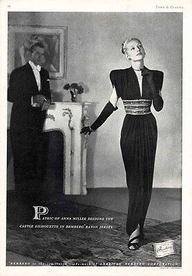 PATRIC of ANNA MILLER Evening Gown Fashion Ad 1946 - Bemberg Jersey Fabric