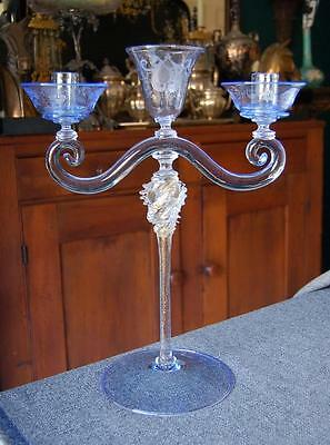 Lovely Antique Blue Murano Venetian Art Glass 2-Lite Candelabra With Center Vase