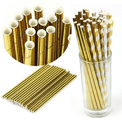 25 Pcs Biodegradable Gold Striped Foil Drinking Paper Straws Birthday Party