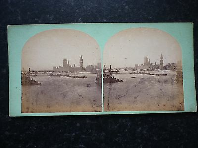 Stereoview Early Image London Houses Of Parliament Westminster Bridge And Abbey