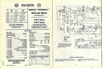 Rca - 1-Vf5  1-Vf6 Victrola  Service Manual  Stereophonic Console  Original Book