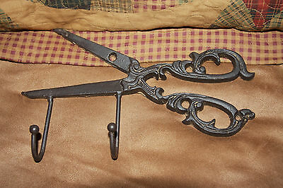 (2) Antique-Look Sewing Craft Decor, Scissors Shears Wall Hook, Cast Iron, H-64